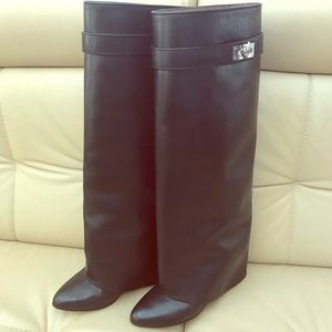 Givenchy shark lock pant leg boot black leather